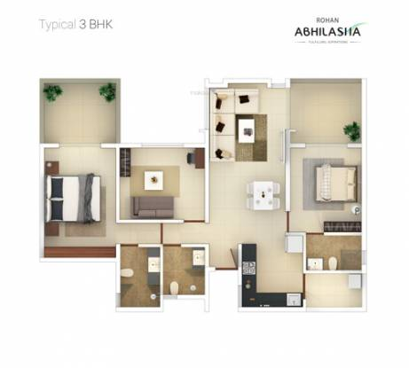 Rohan Abhilasha Building F (3BHK+3T (829 sq ft) Apartment 829 sq ft)