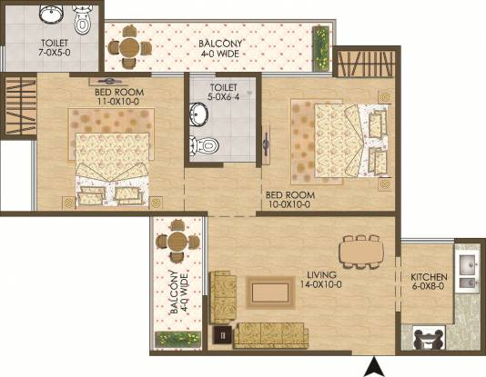 Antriksh New Dwarka Residency (2BHK+2T (800 sq ft) Apartment 800 sq ft)