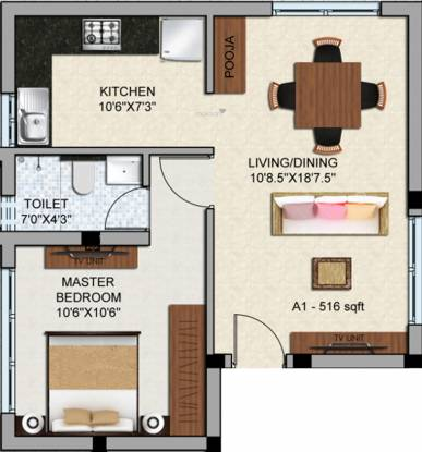 Dharshini LTS Enclave (1BHK+1T (437 sq ft) + Pooja Room Apartment 437 sq ft)