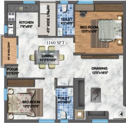 Akruthi Akruthis Venkatadri Towers (2BHK+2T (1,160 sq ft) + Pooja Room Apartment 1160 sq ft)