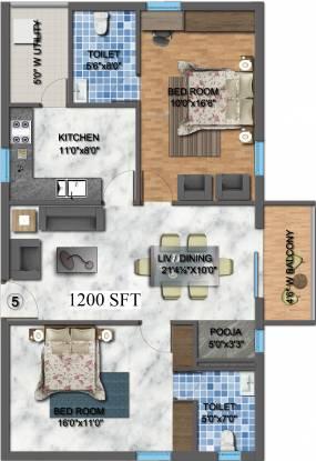 Akruthi Akruthis Venkatadri Towers (2BHK+2T (1,200 sq ft) + Pooja Room Apartment 1200 sq ft)