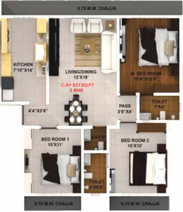 Modispaces Oyster (3BHK+3T (831 sq ft) Apartment 831 sq ft)