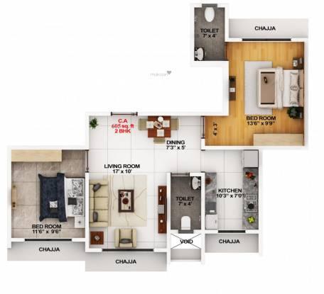 Modispaces Amazon (2BHK+2T (605.04 sq ft) Apartment 605.04 sq ft)