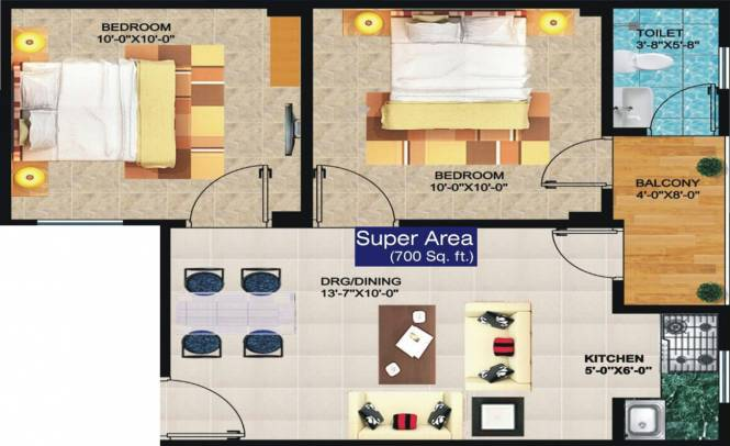 Daffodil Heights 2 (2BHK+2T (700 sq ft) Apartment 700 sq ft)