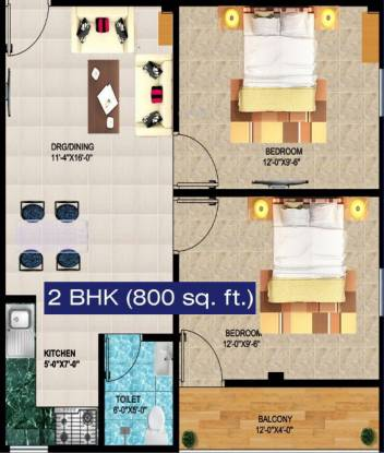Daffodil Heights 2 (2BHK+2T (800 sq ft) Apartment 800 sq ft)