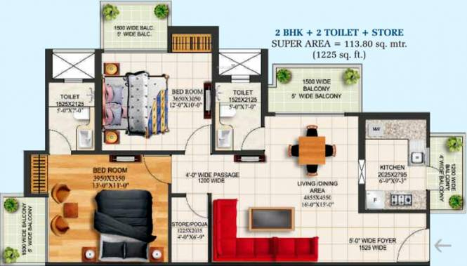 Alpha Heights (2BHK+2T (1,225 sq ft) Apartment 1225 sq ft)