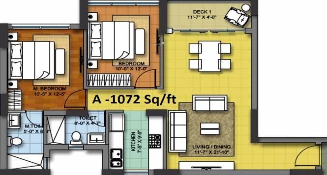 Shristi Shristinagar Asansol (2BHK+2T (1,072 sq ft) Apartment 1072 sq ft)