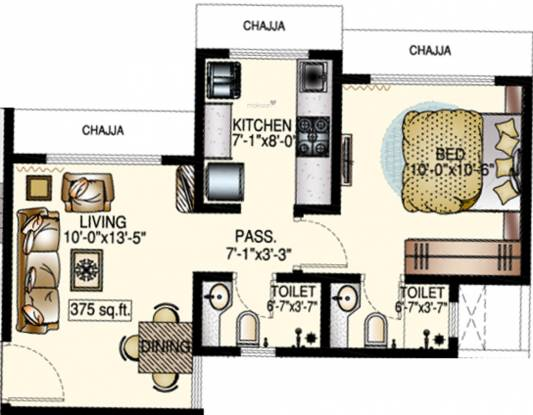 DP Star Trilok (1BHK+2T (375.12 sq ft) Apartment 375.12 sq ft)