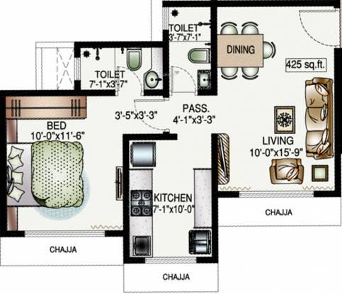 DP Star Trilok (1BHK+2T (425.17 sq ft) Apartment 425.17 sq ft)