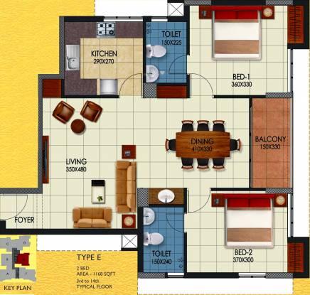 Sun Medanta (2BHK+2T (1,168 sq ft) Apartment 1168 sq ft)