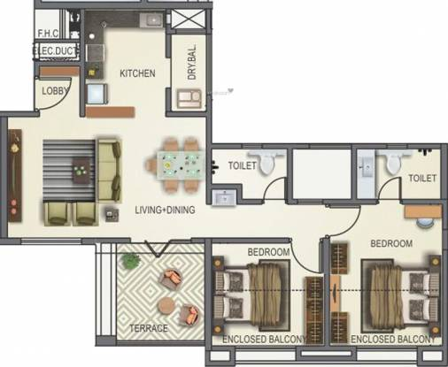 Kunal Iconia Phase II (2BHK+2T (609.88 sq ft) Apartment 609.88 sq ft)