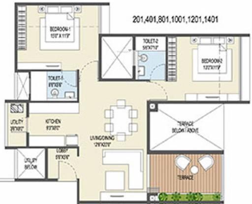 Goel Ganga Ganga Platino Building P Q R (2BHK+2T (745.29 sq ft) Apartment 745.29 sq ft)
