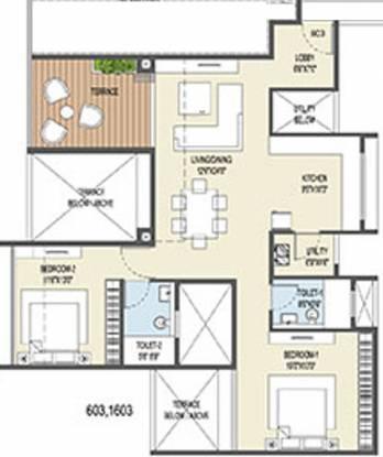 Goel Ganga Ganga Platino Building P Q R (2BHK+2T (833.88 sq ft) Apartment 833.88 sq ft)