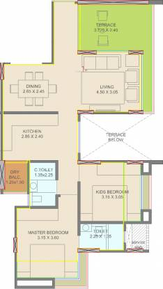 Courtyard One Phase 2 (2BHK+2T (635.07 sq ft) Apartment 635.07 sq ft)