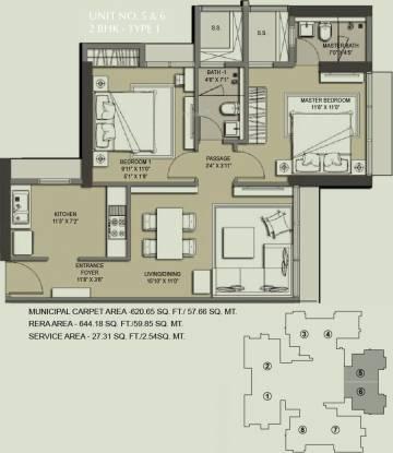 Ahuja Linkpark (2BHK+2T (644.22 sq ft) Apartment 644.22 sq ft)