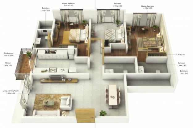 UK Sangfroid (3BHK+3T (943.56 sq ft) Apartment 943.56 sq ft)