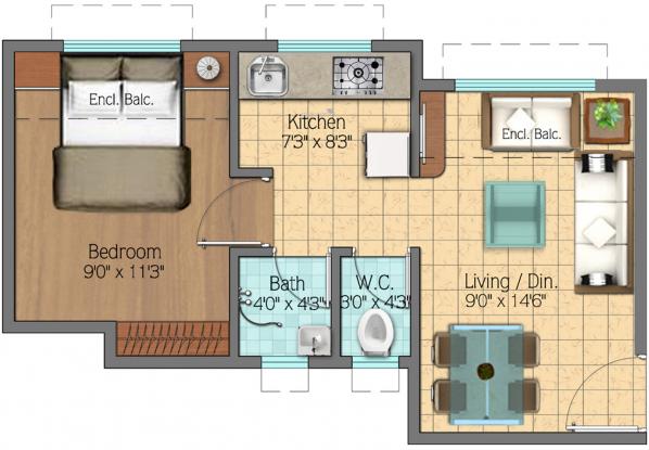 Vijay Estate Vakas Phase 1 (1BHK+1T (291.59 sq ft) Apartment 291.59 sq ft)