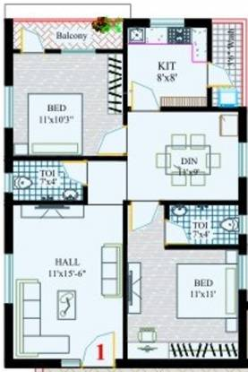 RK Sai Soudha (2BHK+2T (1,035 sq ft) Apartment 1035 sq ft)