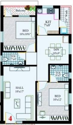 RK Sai Soudha (2BHK+2T (1,005 sq ft) Apartment 1005 sq ft)
