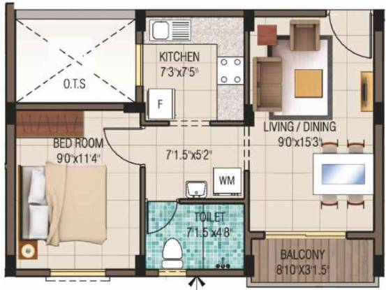 Alliance Humming Garden EWS (1BHK+1T (593 sq ft) Apartment 593 sq ft)