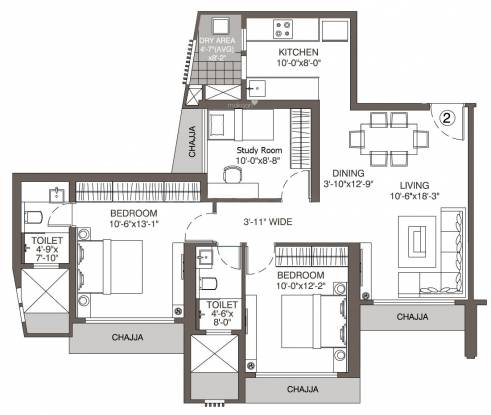 Evershine Crown (2BHK+2T (783.83 sq ft) + Study Room Apartment 783.83 sq ft)