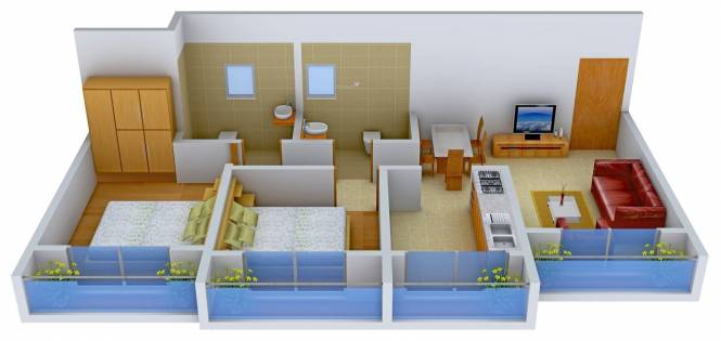 Vinay Unique Heights (2BHK+2T (529.80 sq ft) Apartment 529.8 sq ft)