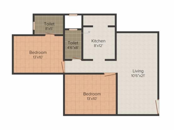 Kabra Aurum Wing A B C AND D of Unnat Nagar II (2BHK+2T (639.05 sq ft) Apartment 639.05 sq ft)