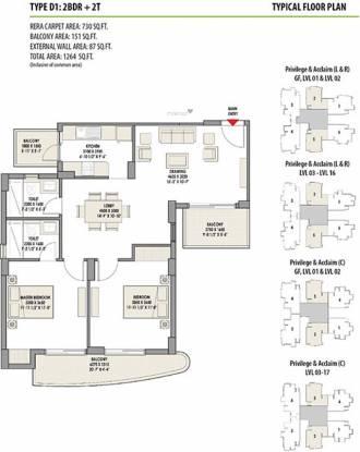 Eldeco Acclaim (2BHK+2T (730 sq ft) Apartment 730 sq ft)