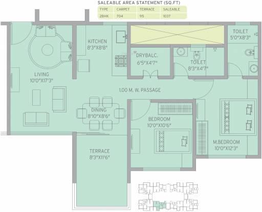 Kolte Patil Life Republic 7th Avenue (2BHK+2T (1,037 sq ft) Apartment 1037 sq ft)