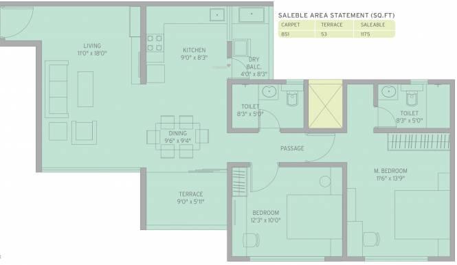 Kolte Patil Life Republic R4 (2BHK+2T (1,175 sq ft) Apartment 1175 sq ft)