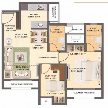Dosti West County Oak (1BHK+1T (501.06 sq ft) + Study Room Apartment 501.06 sq ft)