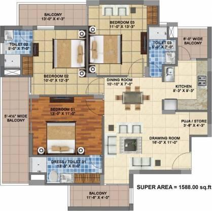 Mona City (3BHK+3T (1,588 sq ft) Apartment 1588 sq ft)
