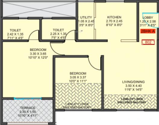 Samartha 41 Estera Phase 2 (2BHK+2T (520.65 sq ft) Apartment 520.65 sq ft)