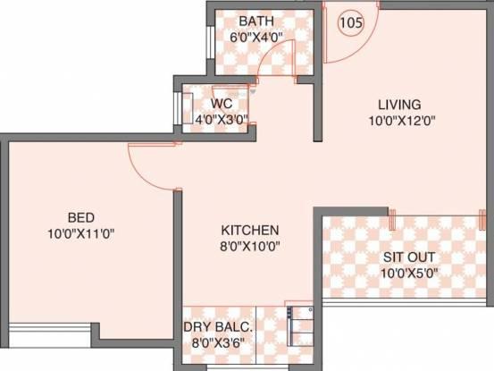 Bhandari BA Iris (1BHK+1T (352.95 sq ft) Apartment 352.95 sq ft)