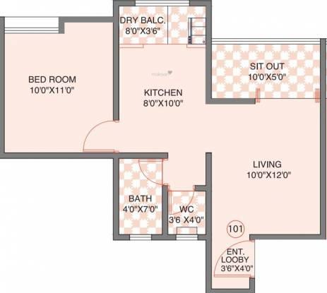Bhandari BA Iris (1BHK+1T (375.77 sq ft) Apartment 375.77 sq ft)
