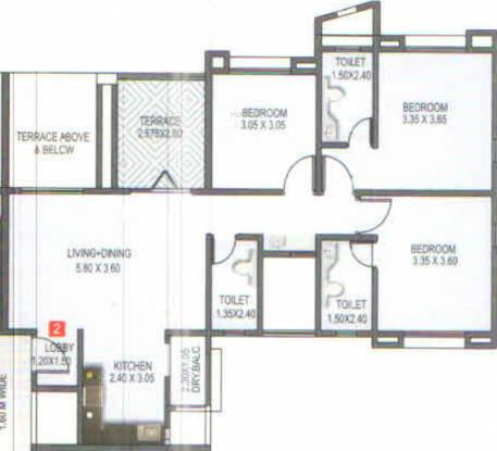 Kunal Iconia Phase III (3BHK+3T (920.10 sq ft) Apartment 920.1 sq ft)