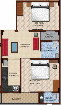 Maa Bhagwati Residency (2BHK+2T (725 sq ft) Apartment 725 sq ft)
