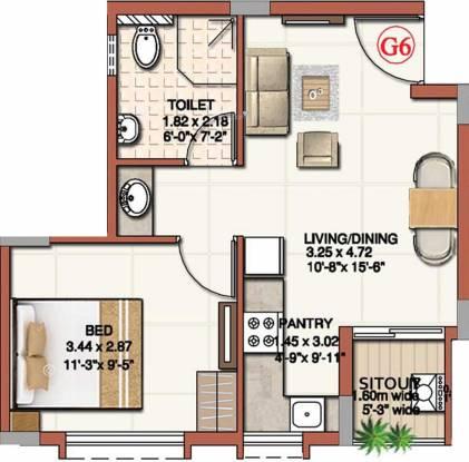 Ahad Excellencia (1BHK+1T (528 sq ft) Apartment 528 sq ft)
