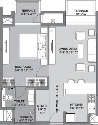 Lodha Lodha Belmondo (1BHK+1T (496 sq ft) Apartment 496 sq ft)