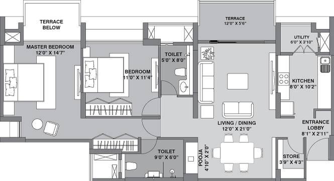 Lodha Lodha Belmondo (2BHK+2T (1,010 sq ft) + Pooja Room Apartment 1010 sq ft)