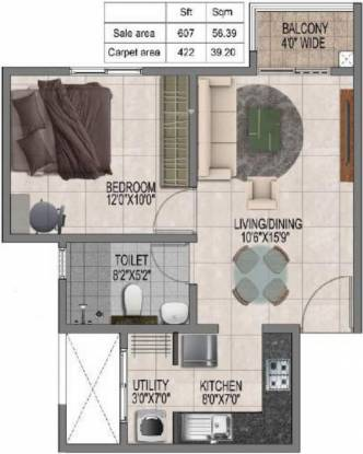 Prestige Jindal City (1BHK+1T (607 sq ft) Apartment 607 sq ft)