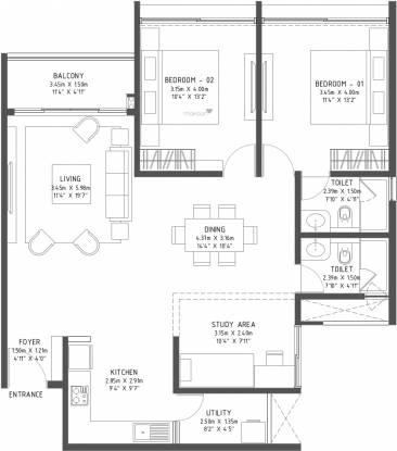 Godrej Reflections (3BHK+3T (1,483 sq ft) Apartment 1483 sq ft)