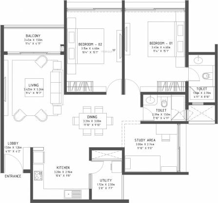 Godrej Reflections (3BHK+3T (1,494 sq ft) Apartment 1494 sq ft)
