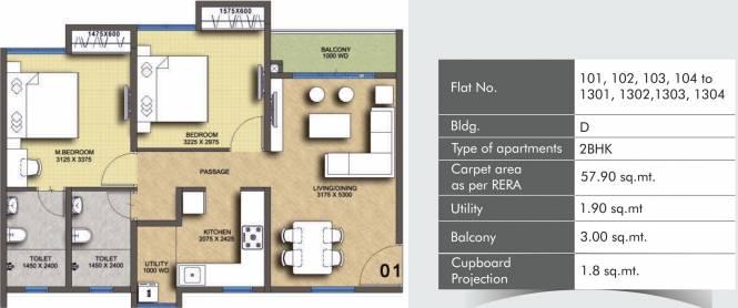 Pegasus Megapolis Springs (2BHK+2T (623.23 sq ft) Apartment 623.23 sq ft)
