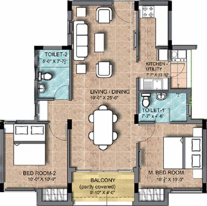 KG Earth Homes Phase II (2BHK+2T (930 sq ft) Apartment 930 sq ft)