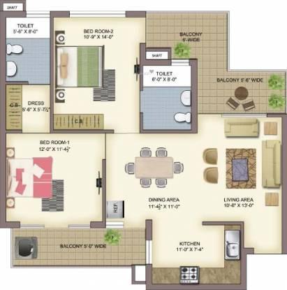 United La Prisma (2BHK+2T (1,230 sq ft) Apartment 1230 sq ft)