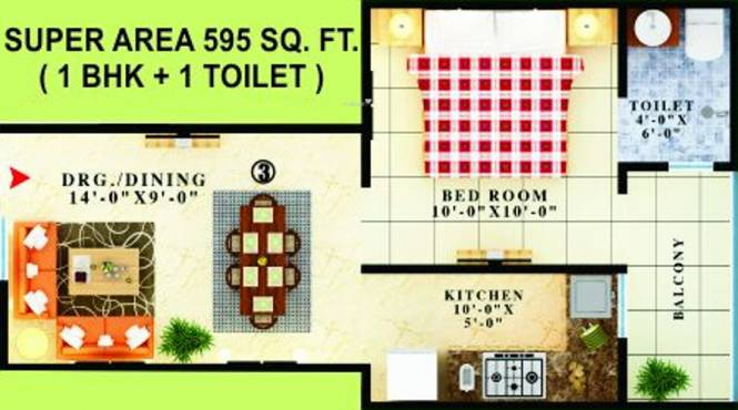 APS Gold (1BHK+1T (595 sq ft) Apartment 595 sq ft)