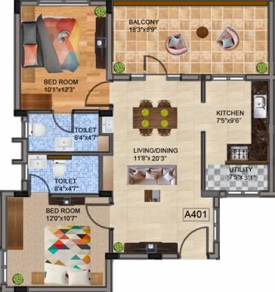 Bharathi Brikhouse (2BHK+2T (960 sq ft) Apartment 960 sq ft)