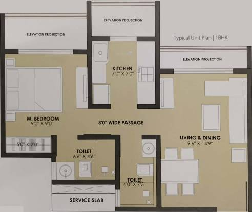 JP North (1BHK+1T (693 sq ft) Apartment 693 sq ft)