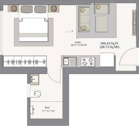 Piramal Revanta Tower 2 (1BHK+1T (309.25 sq ft) Apartment 309.25 sq ft)
